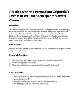 Practice with the Persuasion: Calpurnia's Dream in Julius Caesar.