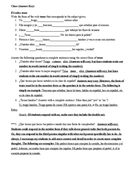 Practice with the verb Tener Worksheet