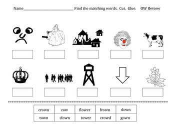 Practice worksheets for the ow digraph vowel sound.