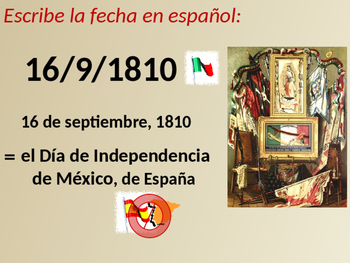 Practice writing DATES in Spanish by learning about Independence Days