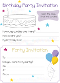 Practice writing funny Birthday Party Invitation activities