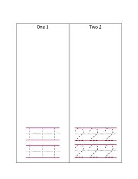 Practice writing numbers 1 and 2