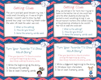 Task Cards For Practice Writing Story Beginnings With Setting & Character!