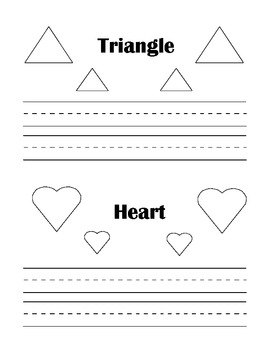 Practice writing shape pages - 5 pages with 10 shapes