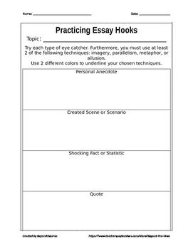 Practicing Essay Hooks