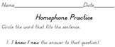 Practicing Homophones