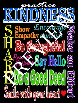 Practicing Kindness Poster-Black Background.