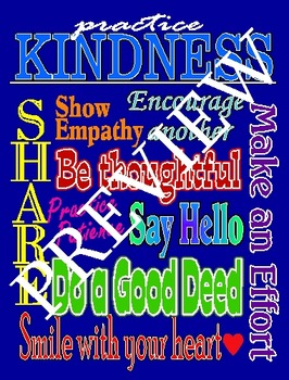 Practicing Kindness Poster--Blue Background