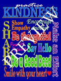 Practicing Kindness Poster--Blue Background