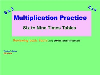 Sample Practicing Math Facts 6 to 9 using Smart Note book