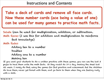 Math Facts with a deck of cards
