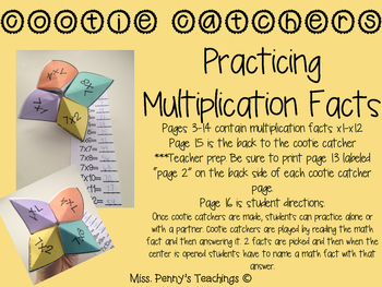 Practicing Multiplications Facts x0-x12: Cootie Catchers