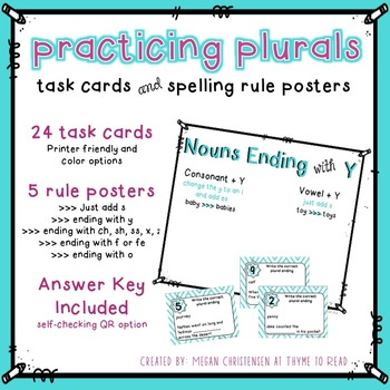 Plural Word Task Cards and Rule Posters