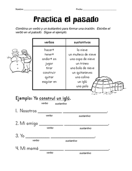 Practicing Spanish Past Tense with Winter Vocabulary 2