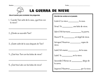 Practicing Spanish Past Tense with Winter Vocabulary 3
