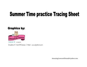 Practicing Tracing Summer Sheet