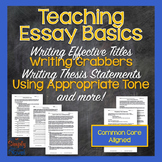 Essay Process Lessons - Writing Titles, Topic Sentences, Thesis Statements
