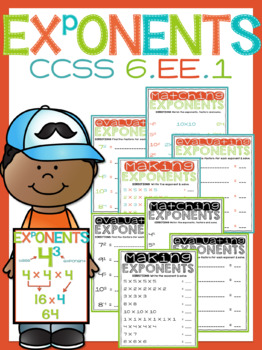 Exponent Worksheets + Poster - Printable or PowerPoint Digital Option