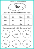 Practicing worksheet - Dolch words
