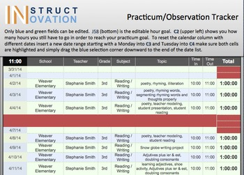 Practicum and Observation Spreadsheet