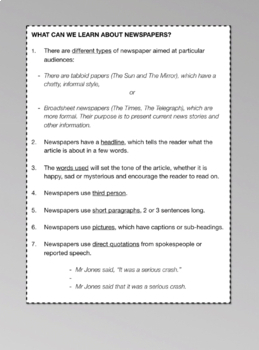 Practise Writing To Inform In A Newspaper Article (Information Writing) 9-14