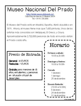 Spanish Reading Culture and Comprehension Questions: Prado Museum