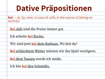 Präpositionen Notizen - Prepositions Notes
