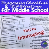 Pragmatic Checklist and IEP Objectives for Middle School