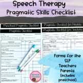 Pragmatic Checklists Informal Assessment {IEP Goals Speech-Language Therapy}