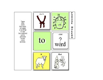 Pragmatic Communication Book Core Vocabulary Starter Page + Phrase Makers