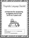 Pragmatic Language Development Checklist