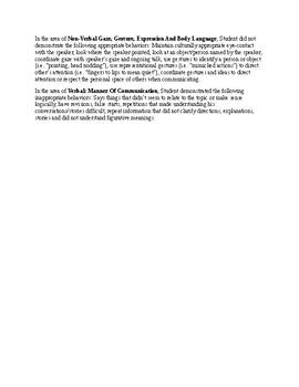Speech Therapy- Pragmatics Profile/Activities Checklist (CELF-5) Report
