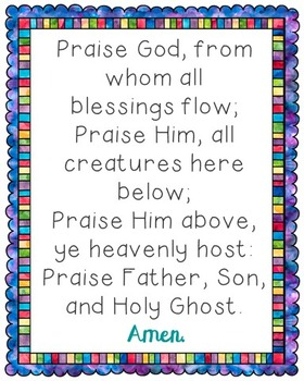 Praise God From Whom All Blessings Flow Poster. Prayer, Blessings, Doxology.