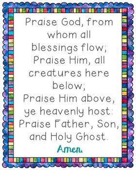 Praise God From Whom All Blessings Flow Poster. Prayer, Blessings, Doxology.