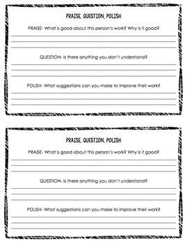 Praise, Question, & Polish peer evaluation form