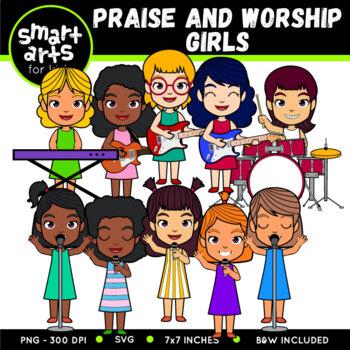 Praise and Worship Girls Clip Art