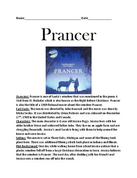 Prancer - Movie overview facts information review questions and word search