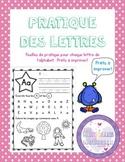 Pratique des lettres - French letter practice sheets
