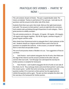 Verb Practice - Pratique des Verbes!