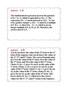 Praxis Math Content Practice Cards