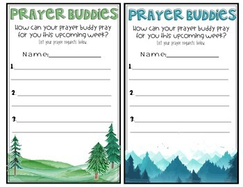 Prayer Buddies- Faith Based Classroom- Classroom Prayer Weekly Activity -