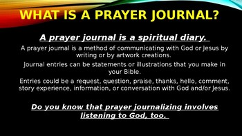 Prayer Journal Workshop Select The Type of Journal Write For You or Your Group
