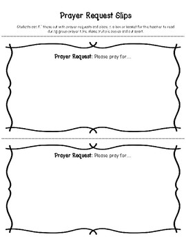 Prayer Request Slips for Students: FREEBIE from my Prayer Printables Collection