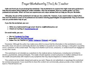 Prayer Worksheet