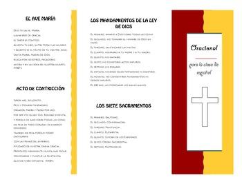 Prayer book for Spanish class (oracional para la clase de español)