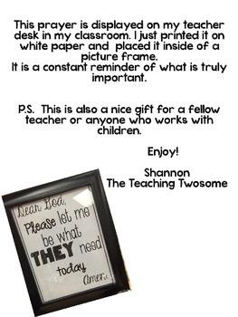 Prayer for Teacher Desk
