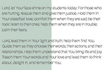 Prayer for Your Students Printable