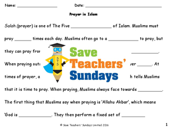 Prayer in Islam Lesson plan and Worksheets