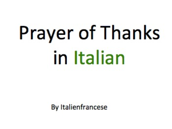 Prayer of Thanks in Italian Wishlist Priced