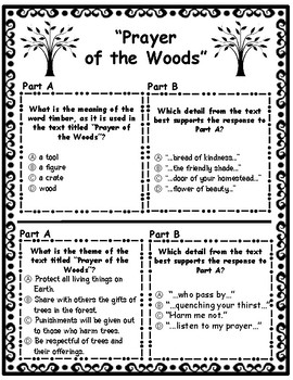 Prayer of the Woods and The Giving Tree EBSR Questions & Writing Task